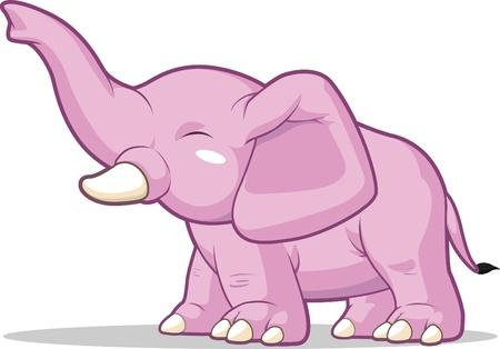 tusks: Elephant Raising Its Trunk