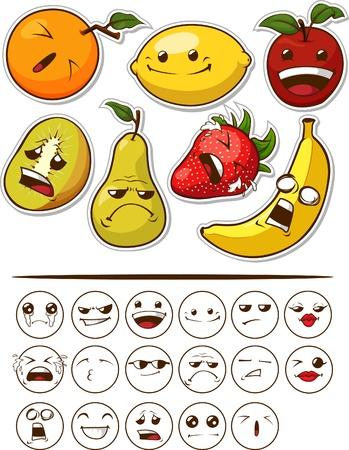 limon caricatura: Fruit divertido con la expresión