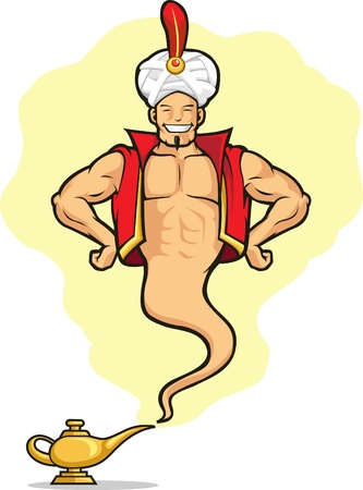 Genie Appear from Magic Lamp Vector