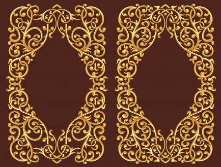 Golden Floral Ornament Vector