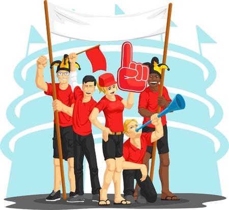 red fan: Group of Fans Cheering with Foam Finger, Vuvuzela, Flag & Banner