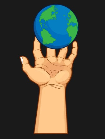 Hand Grasping the World Vector