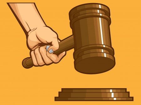 judge hammer: Hand Knocking Gavel