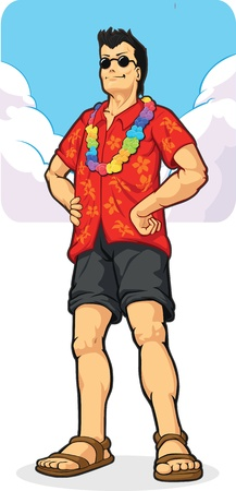 Tropical Island Tourist on Vacation/Holiday Stock Vector - 16899857