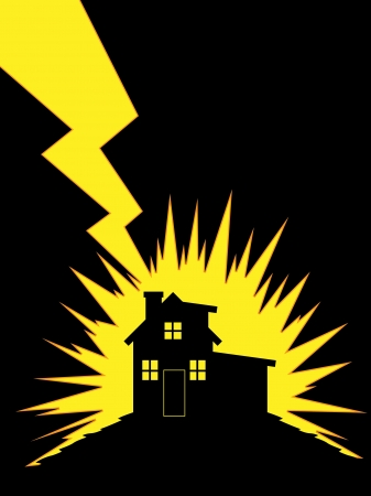 House Struck by Lightning Vectores