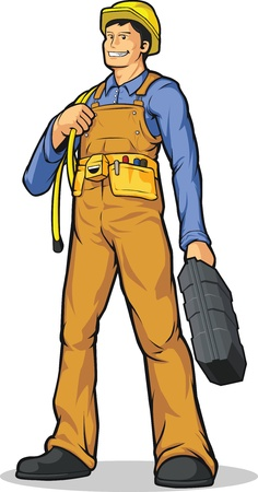 constructors: Industrial Construction Worker with Rope & Tool Box Illustration