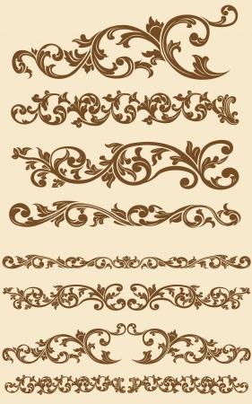 bordure de page: Javanais ornement floral de cru Set 1 Illustration