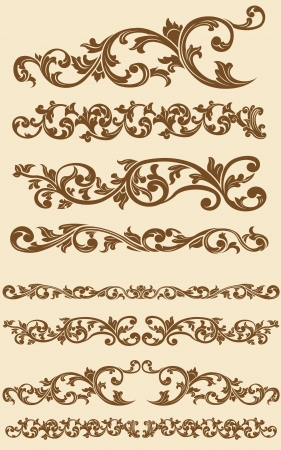 Javanese Vintage Floral Ornament Set 1 Vector