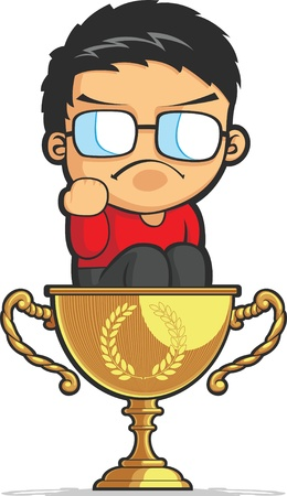 achiever: Kid Making Success Fist on Achievement Trophy Illustration