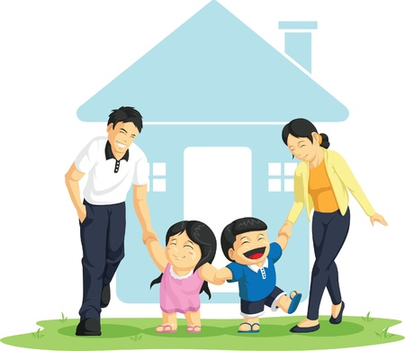 Kids Playing with Father & Mother Stock Vector - 16899848