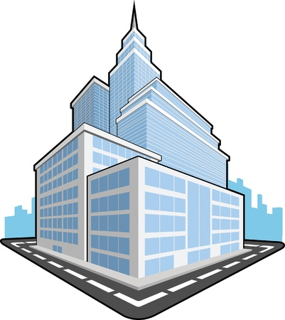 quartier g�n�ral: Immeuble de bureaux Illustration