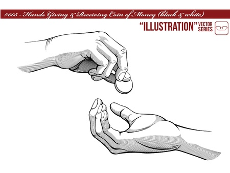 Hands Giving   Receiving Money  black   white version  Vector