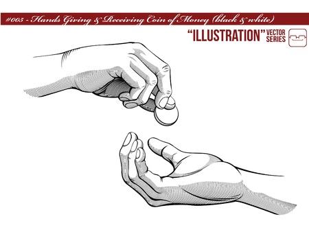 Hands Giving   Receiving Money  black   white version