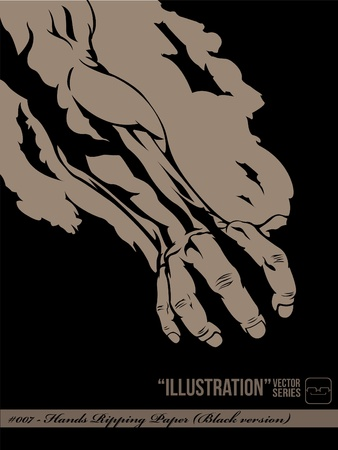 punched through: Hand Ripping Paper  Black version  Illustration