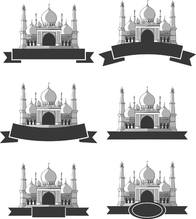 masjid: Ramadan   Eid Mubarak Greeting - Masjid Banner Illustration