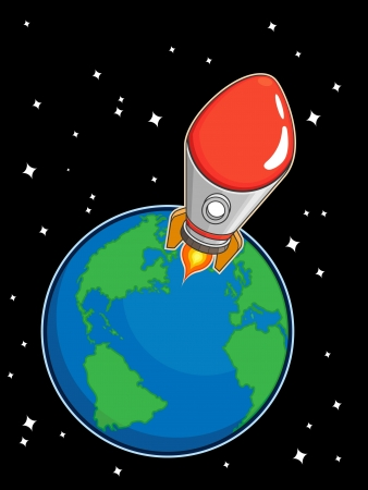 Rocket Fly from Earth Stock Vector - 16899911