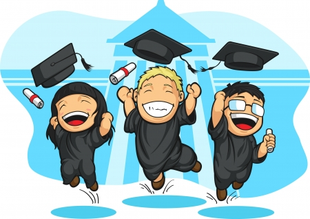 School-College Graduation Cartoon Vector