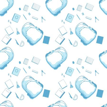 sac d ecole: Seamless Pattern de sac d'�cole et fournitures Illustration