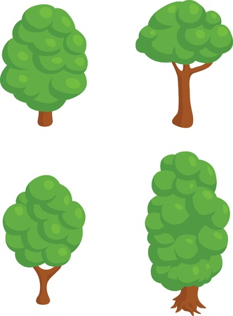 Set of 4 Isometric Trees Illustration