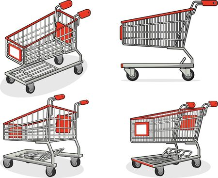 shopping carriage: Shopping Cart or Trolley from Several Positions