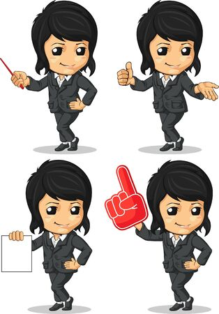 Smiling Businesswoman Mascot in Many Poses Stock Vector - 16899950