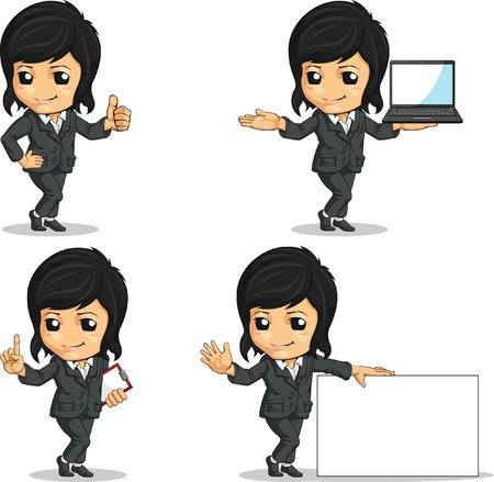 Smiling Businesswoman Mascot in Various Poses Stock Vector - 16899939