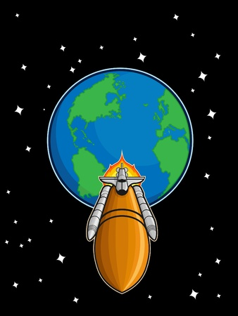 Space Shuttle Fly from Earth Stock Vector - 16899932