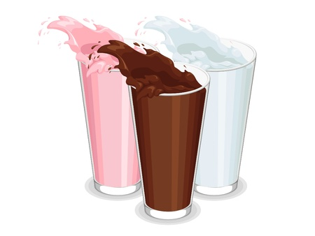 Spilled Glass of White, Chocolate, and Strawberry Milk Vector