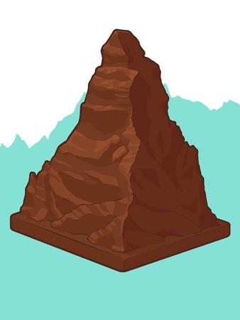 alpes suizos: Chocolate Suizo en forma Matterhorn Vectores