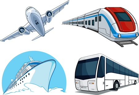 depart:   Travel Transportation Set - Airplane, Bus, Cruise Ship, and Train Illustration