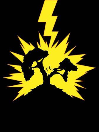 Tree Struck by Lightning Stock Vector - 16899892