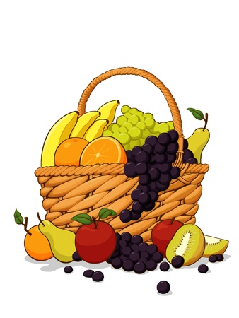 Variety of Fresh Fruits in The Wooden Basket Vector