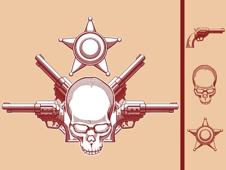 Vintage Wild West Skull, Revolver   Sheriff Badge Stock Vector - 16900015
