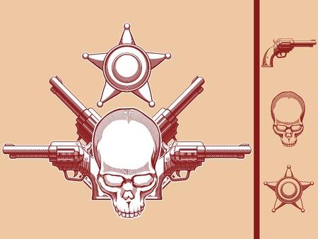 sheriff badge: Vintage Wild West Skull, Revolver   Sheriff Badge