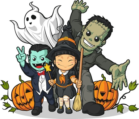 cute halloween: Witch, Vampire, Frankenstein, Ghost   Pumpkin Greeting Halloween