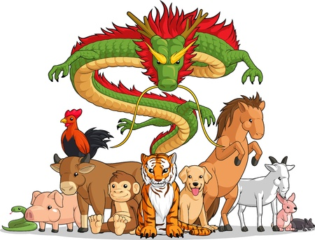 dragon year:  All 12 Chinese Zodiac Animals Together Illustration