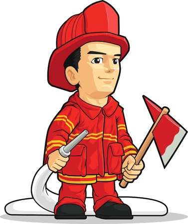 пожарный: Мультфильм Пожарный Мальчик Иллюстрация