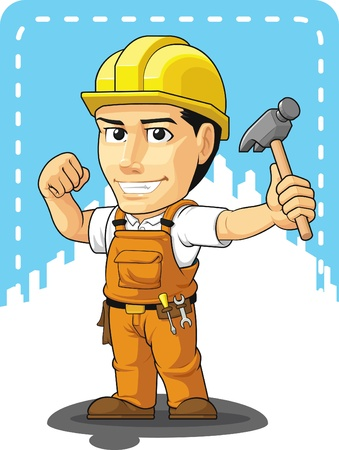 manufacturing occupation: Cartoon of Industrial Construction Worker
