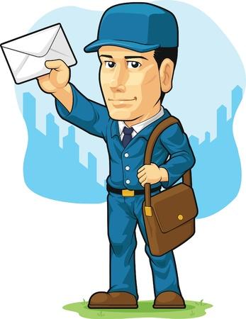 postman: Cartoon of Postman or Mailman