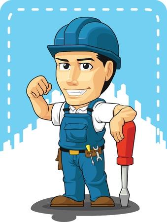 Cartoon of Technician or Repairman  イラスト・ベクター素材
