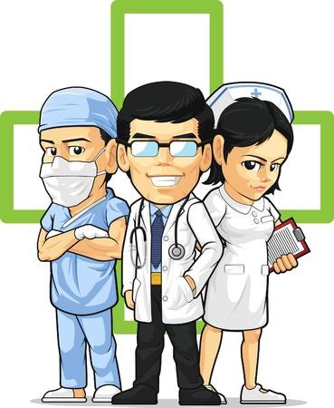 enfermera caricatura: Cuidado de la Salud o el personal m�dico - Doctor, Enfermera, Cirujano