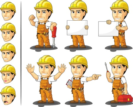 industrial safety: Construcci�n Industrial Worker Mascot Vectores