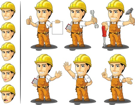 cartoon worker: Construcci�n Industrial Worker Mascot Vectores