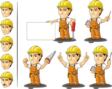 construction worker cartoon: Industrial Construction Worker Mascot 3 Illustration