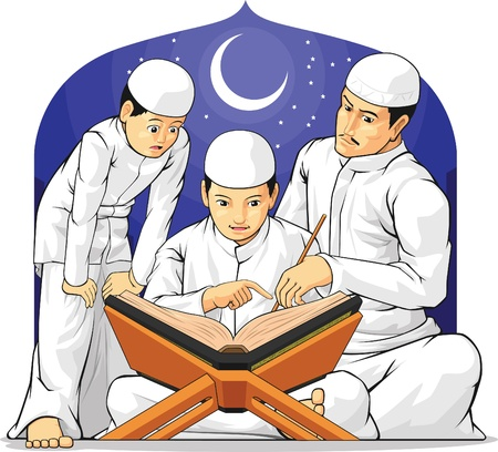 Kids Learn to Read Al-Quran with Their Parent Stock Vector - 18758880
