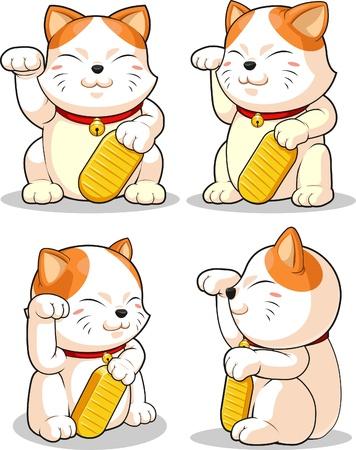 Lucky Cat (Makeni Neko) from Several Positions  イラスト・ベクター素材