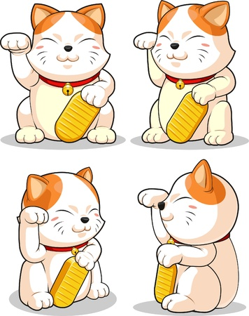 Lucky Cat (Makeni Neko) from Several Positions Vectores