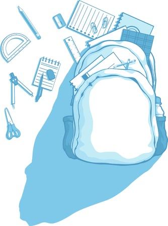 fournitures scolaires: Sac d'�cole avec fournitures scolaires dispers�s autour