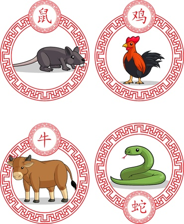 Chinese Zodiac Animal - Ox, Rat, Rooster Snake Vector