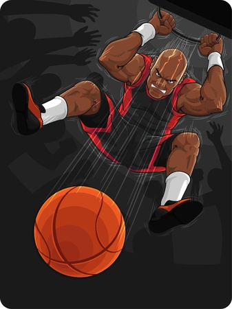 basketball team: Basketball Player Doing Slam Dunk